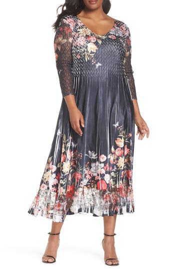 Plus Size Komarov Charmeuse Chiffon A-Line Dress, Blue