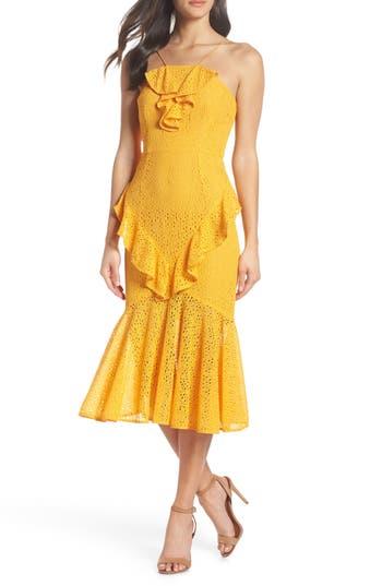 Cooper St Garland Frill Lace Midi Dress, Yellow