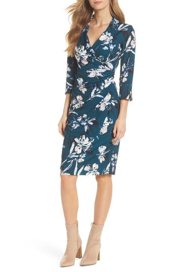 Eliza J Faux Wrap Collared Dress