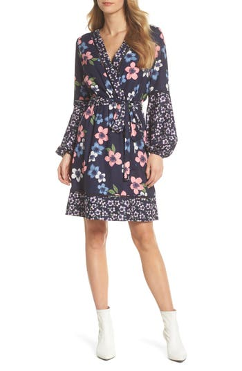 Eliza J Long Sleeve Floral Wrap Dress, Blue