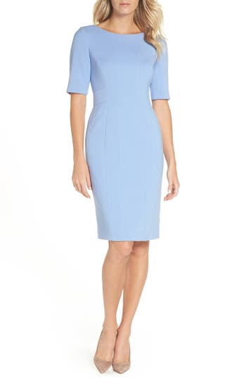 Eliza J Bateau Neck Crepe Sheath, Blue
