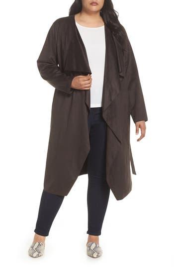 Plus Size Halogen Faux Suede Front Drape Trench Coat, Brown