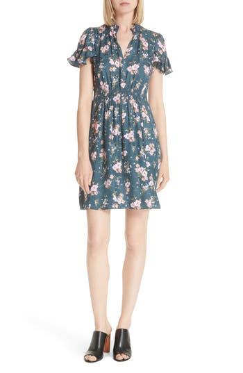 Rebecca Taylor Emilia Floral Silk Jacquard Dress, Burgundy