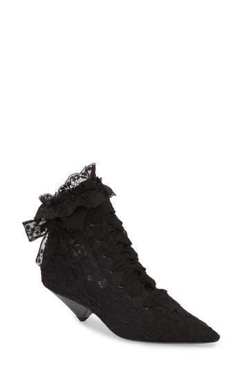 Saint Laurent Blaze Embellished Pointy Toe Bootie, Black