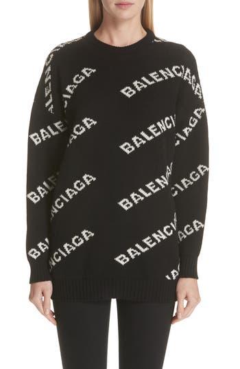 Balenciaga Logo Knit Wool Blend Sweater, 6 FR - Black