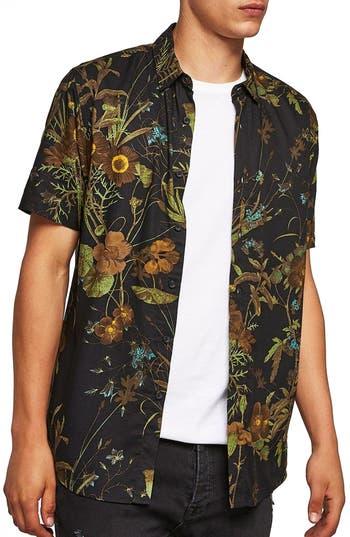 Topman Floral Print Shirt, Black