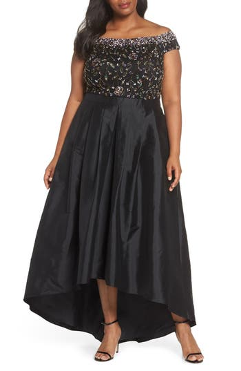 Plus Size Adrianna Papell Embellished Off The Shoulder High/low Gown, Black