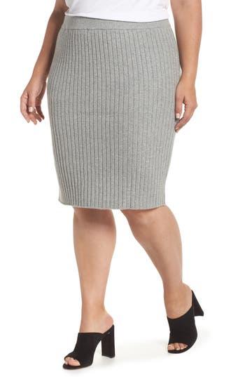 Plus Size Leith Rib Knit Skirt, Grey