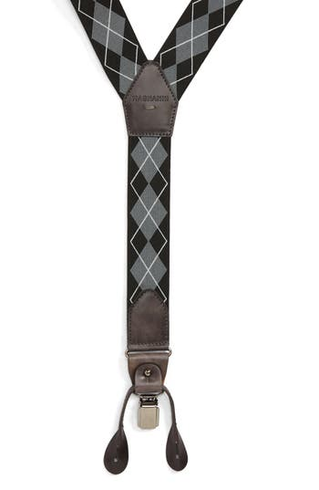 Magnanni Diamond Suspenders, Size One Size - Black / Grey