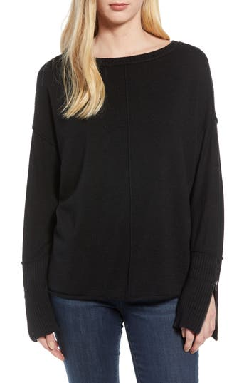Caslon Zip Cuff Sweater, Black