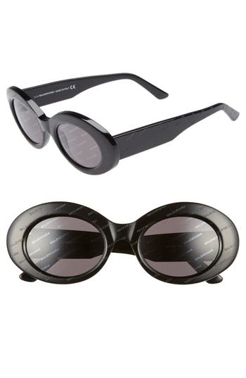 Balenciaga 51Mm Oval Sunglasses - Black/ Smoke