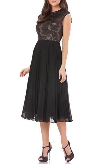 Carmen Marc Valvo Infusion Pleated Skirt, Black
