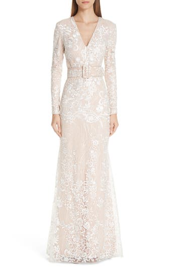 Badgley Mischka Platinum Embroidered Belted Gown, Ivory