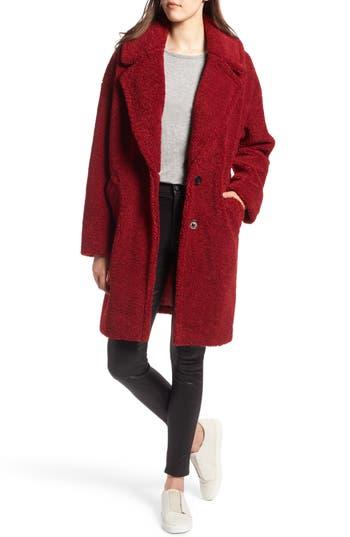 Faux Fur Teddy Coat, Red