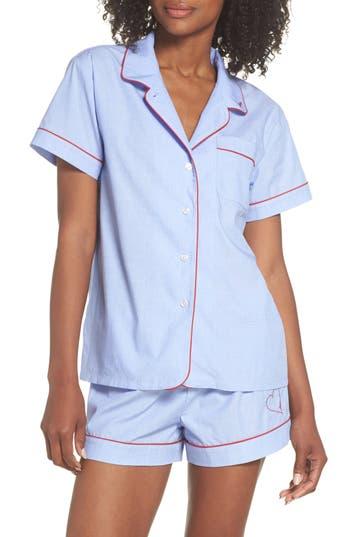 Ed Ellen Degeneres Love Heart Short Pajamas, Blue