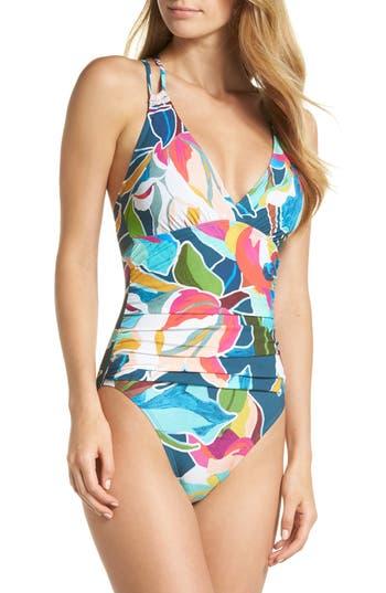 La Blanca Floral Surplice One-Piece Swimsuit, Blue