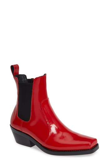 Jeffrey Campbell Poker Chelsea Boot- Red