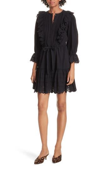 La Vie Rebecca Taylor Satin Stripe Dress, Black