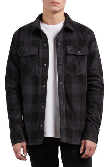 Volcom Bower Check Print Fleece Jacket, Grey