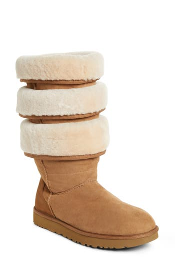 X Ugg Black Triple Layered Shearling Boots  in Brown