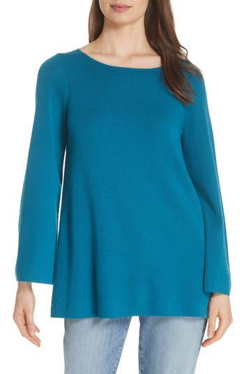 Eileen Fisher Bateau Neck Merino Wool Tunic Top, Blue