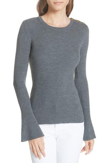 Tory Burch Liv Merino Wool Sweater, Grey