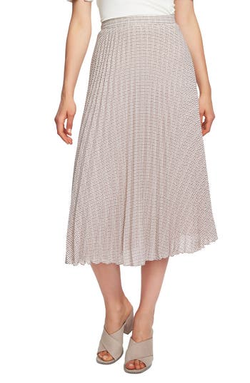 1930s Style Skirts : Midi Skirts, Tea Length, Pleated Womens 1.state Fine Puppytooth Pleated Midi Skirt $99.00 AT vintagedancer.com