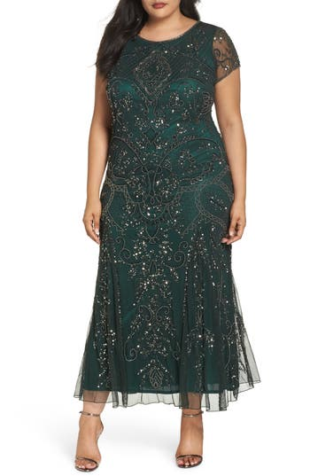 1920s Evening Dresses & Formal Gowns Plus Size Womens Pisarro Nights Beaded Short Sleeve Column Gown Size 24W - Green $248.00 AT vintagedancer.com