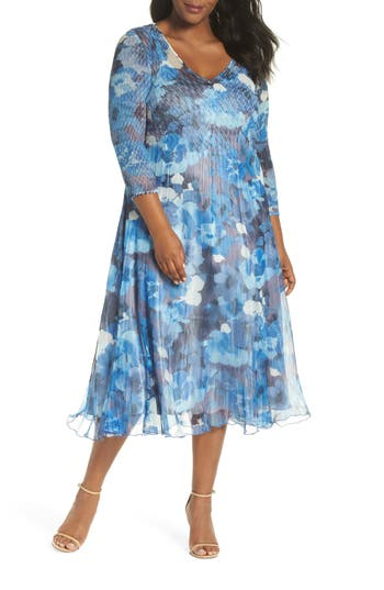 Plus Size Komarov Chiffon & Charmeuse A-Line Dress, Blue