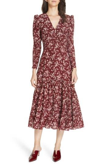 Rebecca Taylor Tilda Floral Midi Silk Dress, Burgundy