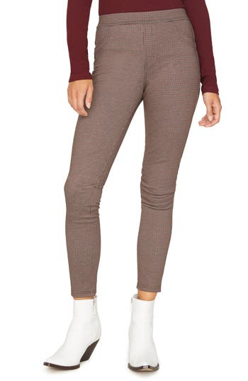 Sanctuary Grease Plaid Leggings, Burgundy