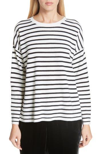 Eileen Fisher Stripe Merino Wool Sweater, White