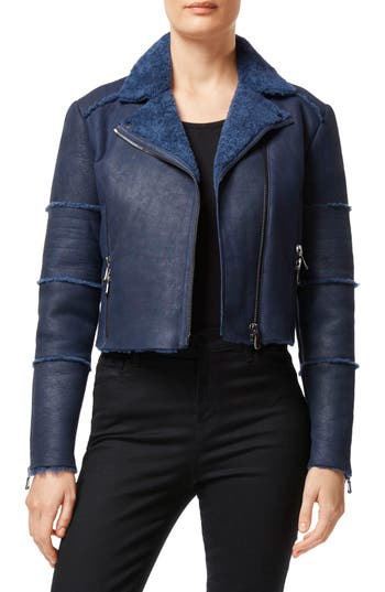 J Brand Aiah Lambskin Leather Moto Jacket With Genuine Shearling Trim, Blue