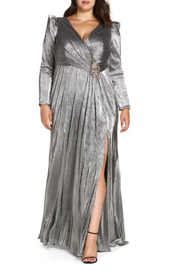 1940s Plus Size Dresses | Swing Dress, Tea Dress Plus Size Womens MAC Duggal Ruched Long Sleeve Gown $498.00 AT vintagedancer.com