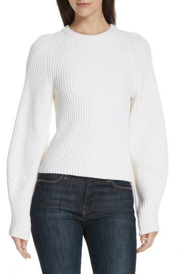 Theory Sculpted Sleeve Shaker Stitch Merino Wool Sweater, Size Petite - Ivory
