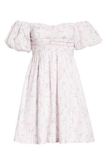 La Vie Rebecca Taylor Adrienne Puff Sleeve Fit & Flare Dress, Pink