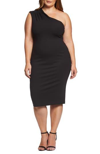 Plus Size Dress The Population Quinn One-Shoulder Ponte Knit Cocktail Sheath, Black