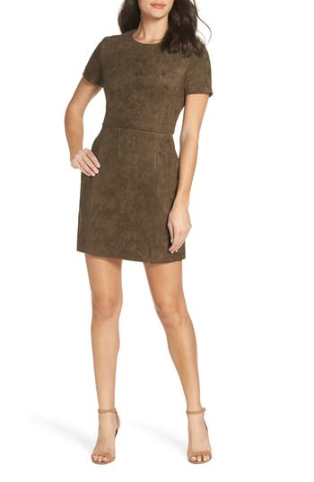French Connection Short Sleeve Faux Suede Dress, Green