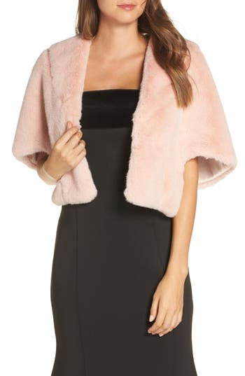 Vintage Coats & Jackets | Retro Coats and Jackets Womens Eliza J Faux Fur Caplet $118.00 AT vintagedancer.com