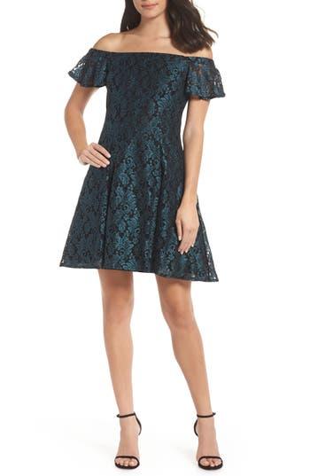 Morgan & Co. Off The Shoulder Lace Dress, Green