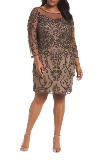1920s Plus Size Flapper Dresses, Gatsby Dresses, Flapper Costumes Womens Pisarro Nights Illusion Sleeve Beaded Sheath Dress $258.00 AT vintagedancer.com