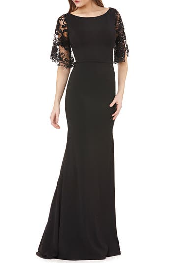 1930s Evening Dresses | Old Hollywood Dress Womens Carmen Marc Valvo Infusion Novelty Lace Gown Size 12 - Black $398.00 AT vintagedancer.com