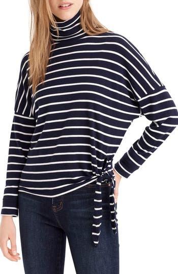 Stripe Tie Waist Turtleneck, Dark Sea White