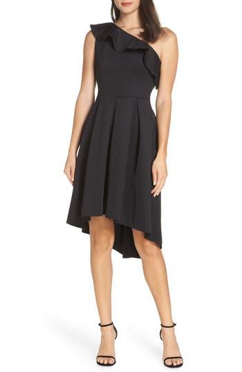 Chi Chi London One-Shoulder High/low Cocktail Dress, Black