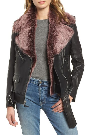 7 For All Mankind Leather Biker Jacket With Removable Genuine Shearling Trim