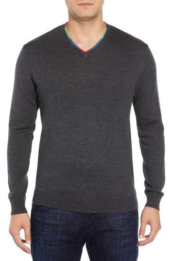 Bugatchi V-Neck Merino Wool Sweater, Black