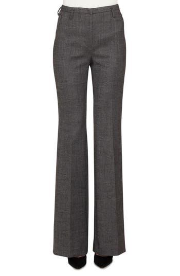 Akris Farrah Stretch Tweed Flare Pants, Black