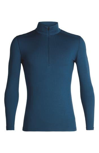 Icebreaker 260 Tech Merino Wool Half Zip Base Layer Top, Blue