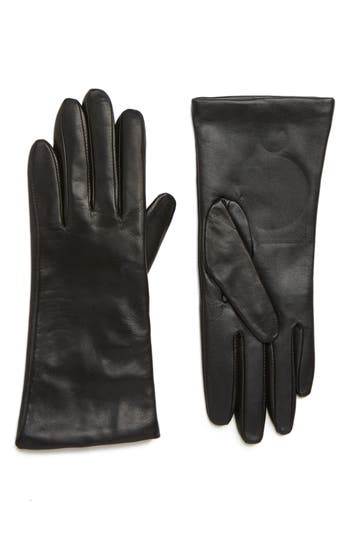 Nordstrom Cashmere Lined Leather Touchscreen Gloves, Black