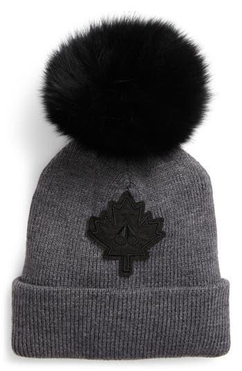 Maple Leaf Toque Hat With Removable Genuine Fox Fur Pom - Black, Charcoal/ Black Fox